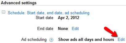 harmonogram wyświetlania reklamy