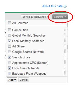 narzędzie google kolumny